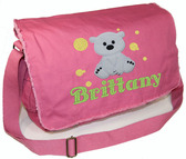 Personalized Applique Polar Bear Diaper Bag Font shown on diaper bag is BELVEDERE