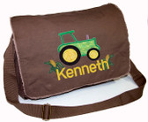 Personalized Applique Tractor Diaper Bag Font used for name shown on diaper bag is GERMAN BLOCK