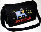 Personalized Applique Train Diaper Bag Font used for name shown on diaper bag is Bookworm