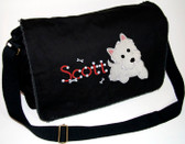 Personalized Applique Westie Diaper Bag Font used for name shown on diaper bag is ROUNDABOUT