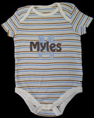 Blue/Brown Striped Onesie Font shown on onesie is HOBO