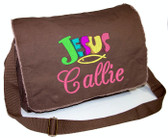 Personalized JESUS Diaper Bag Font shown on diaper bag is BRIDAL PATH