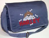 Personalized BULLDOG Diaper Bag Font shown on diaper bag is SUMMER CAMP
