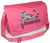 Personalized CAT & MOUSE Diaper Bag Font shown on diaper bag is BOOKWORM