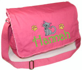 Personalized KITTY CAT Diaper Bag Font shown on diaper bag is HARRINGTOWN