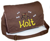 Personalized PUPPY DOG Diaper Bag Font shown on diaper bag is APPLE BUTTER