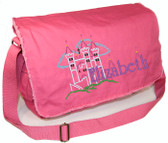 Personalized CASTLE Diaper Bag Font shown on diaper bag is IVORY TOWER