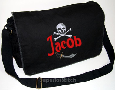 Personalized Diaper Bag For Or Boy Embroidered Skull On Pigment Dyed Raw Edge