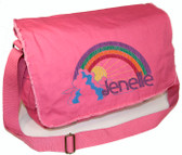 Personalized Rainbow Diaper Bag Font shown on bag is METAL PLAY