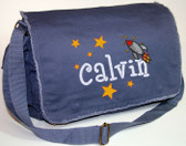 Personalized Rocket Ship Diaper Bag Font shown on bag is BOYZ