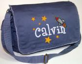 Personalized Rocket Ship Diaper Bag Font shown on bag is BOYZ