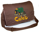 Personalized Tractor Diaper Bag Font shown on bag is EXCALIBER