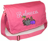 Personalized AFRICAN ANIMALS Diaper Bag Font shown on diaper bag is FLING SCRIPT