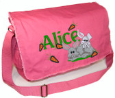 Personalized BABY BUNNIES Diaper Bag Font shown on diaper bag is BEECH