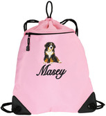 Bernese Mountain Dog Cinch Bag Font Shown on Bag is SNOW SCRIPT