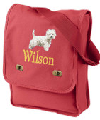 West Highland White Terrier Field Bag Font Shown on Bag is ROAD WARRIOR