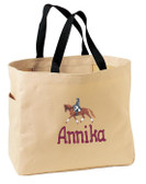 Dressage Tote Bag Font Shown on Bag is APPLE BUTTER