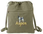 Norwegian Elkhound Cinch Bag Font shown on bag is ALPINE