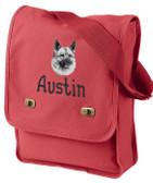 Norwegian Elkhound Field Bag Font Shown on Bag is APPLE BUTTER