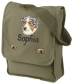 Australian Shepherd Field Bag Font shown on bag is ALPINE