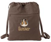 Shetland Sheepdog Cinch Bag Font shown on bag is APPLE BUTTER