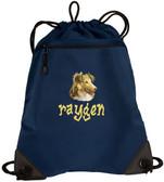 Shetland Sheepdog Sheltie Bag Font shown on bag is BEDROCK