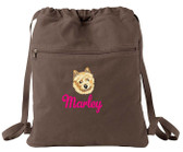Norwich Terrier Cinch Bag Font shown on bag is LAVERNE