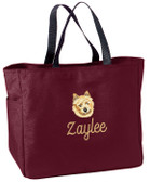 Norwich Terrier Tote Font shown on bag is MANILA