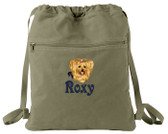Yorkshire Terrier Cinch Bag Font shown on bag is VICTORY