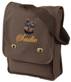 Yorkshire Terrier Field Bag Font shown on bag is VICTORIA