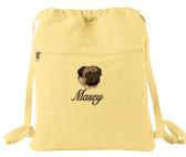 Pug Cinch Bag Font shown on bag is SNOW