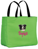 Border Collie Tote Font shown on bag is ANGELIC
