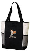 Corgi Tote Font shown on bag is CUSTOM SCRIPT
