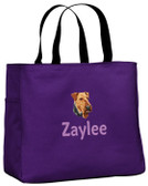 Airedale Terrier Tote Font shown on bag is ELIZABETH BLOCK