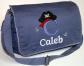 Personalized Applique Pirate Diaper Bag using DK BLUE Fabric Font shown on diaper bag is BOOKWORM
