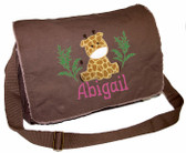 Personalized Walking Dinosaur Applique Diaper Bag Font shown on diaper bag is APPLE BUTTER