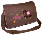 Personalized Pony Applique Diaper Bag Font shown on bag above is SWEEP ITALIC