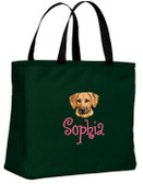 Rhodesian Ridgeback Tote Font shown on bag is ANGELIC