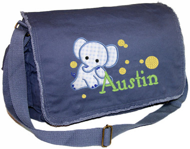 Personalized Elephant Applique Diaper Bag Fabric shown on bag is CHECKED BLUE Font shown on bag is WOODWORK