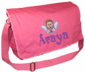 Personalized Cloud Angel Diaper Bag Font shown on diaper bag is BOING
