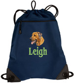 Rhodesian Ridgeback Cinch Bag Font shown on bag is BANQUET
