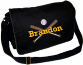 Personalized Baseball Bats Diaper Bag Font shown on diaper bag is ROCKWELD