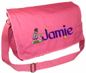 Personalized Softball Diaper Bag Font shown on diaper bag is LEOPOLD