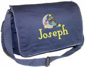 Personalized Fishing Angel Diaper Bag Font shown on diaper bag is WOODWORK