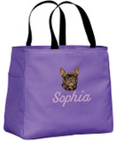 French Bulldog Tote Font shown on bag is CIN ITALIC