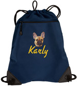 French Bulldog Cinch Bag Font shown on bag is DRIVE IN