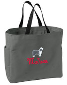 Bearded Collie Tote Font shown on bag is JOSEPHINE