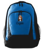 Basset Hound Backpack Font shown on bag is MANILA SCRIPT