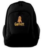 Cocker Spaniel Backpack Font shown on bag is HANZELA