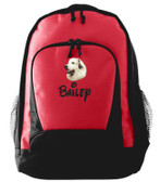 Great Pyrenees Backpack Font shown on bag is MOUSE SCRIPT